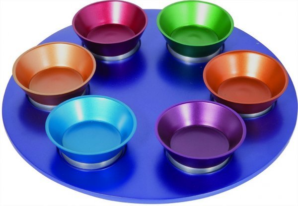 Multi colored aluminum Seder Plate
